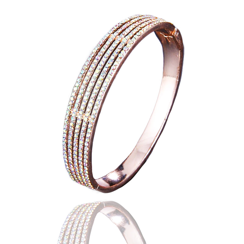 Malia Crystal Bangle in Rose Gold