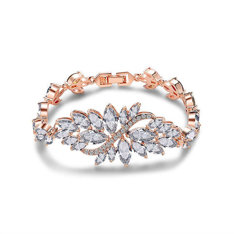 Kristina Crystal Flower Bracelet in Rose Gold