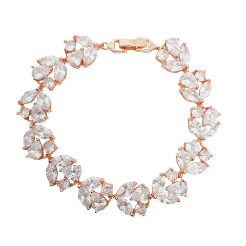 Karin Crystal Cluster Bracelet in Rose Gold