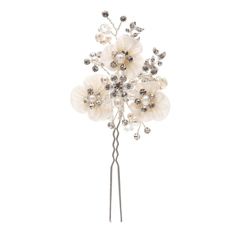 Sarah Satin Floral & Crystal Hair Pin - Bella Krystal