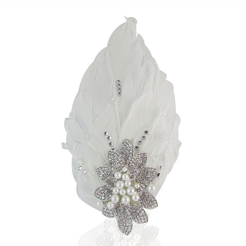 Valerie Crystal & Pearl Feather Hair Comb - Bella Krystal