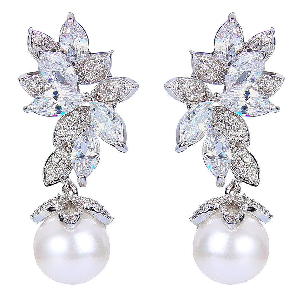 Breanna Crystal Pearl Drop Earrings - Bella Krystal