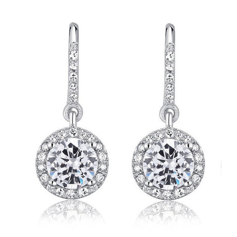 Melanie Sterling Silver Round Earrings - Bella Krystal