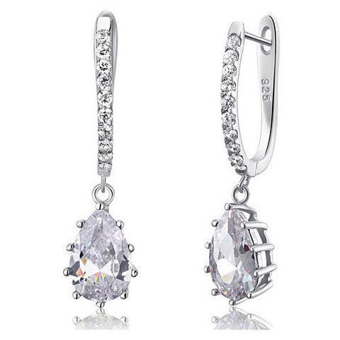 Genesis Sterling Silver Princess Tear Drop Earrings - Bella Krystal