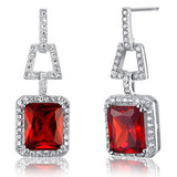 Angelina Red Crystal Sterling Silver Elegant Vintage Earrings - Bella Krystal