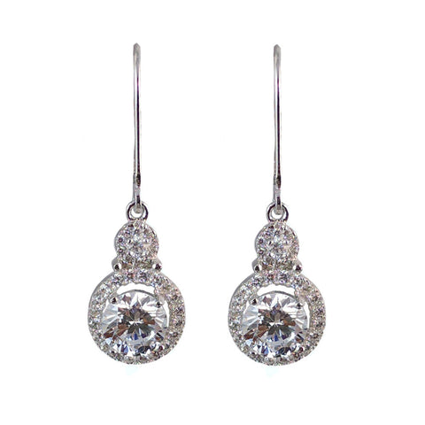 Diana Sterling Silver Dangle Drop Earrings - Bella Krystal