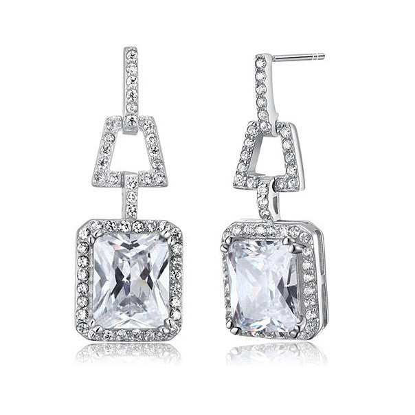 Valeria Clear Sterling Silver Elegant Vintage Earrings - Bella Krystal