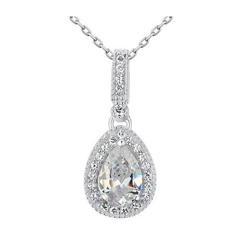 Mariah Sterling Silver Tear Drop Pendant Necklace - Bella Krystal