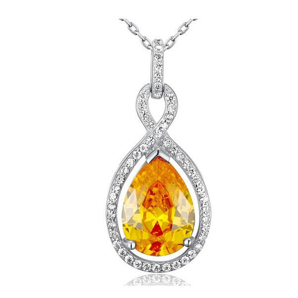 Paige Yellow Crystal Sterling Silver Elegant Tear Drop Necklace - Bella Krystal