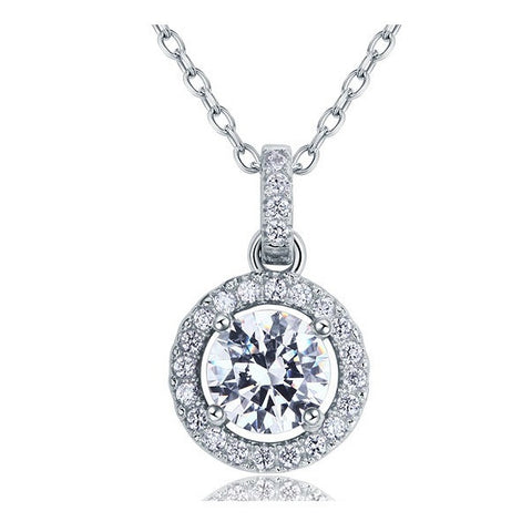 Naomi Sterling Silver Round Pendant Necklace - Bella Krystal