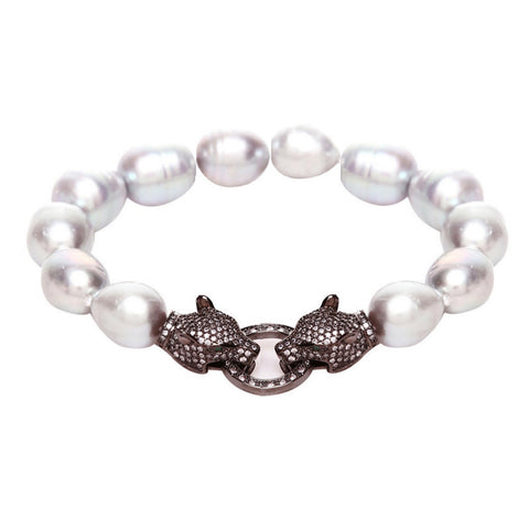Alicia Swarovski Tiger & Grey Fresh Water Pearl Bracelet - Bella Krystal