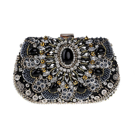 Selene Black Crystal Beaded Clutch