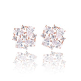 Xena Crystal Cluster & Rose Gold Stud Earrings
