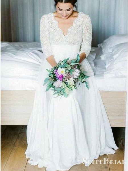 V-neck Lace Mid Sleeves Wedding Dresses, Popular Lace Wedding Dresses, TYP0258
