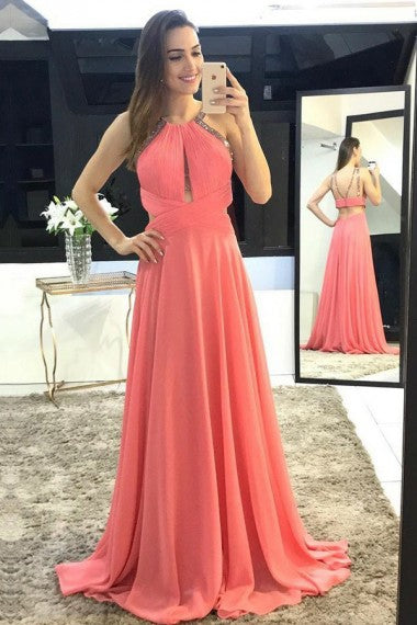 A-Line Crew Long Watermelon Keyhole Open Back Prom Dresses with Beading, TYP0039