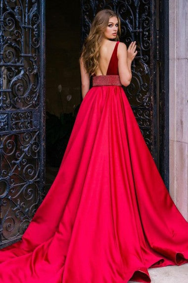 A-Line Deep V-Neck Long Red Satin Prom Dresses with Beading, TYP0024