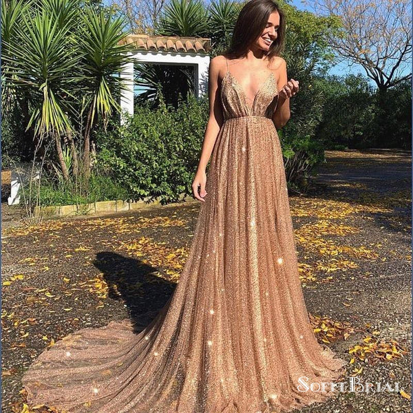 3be7eff5 Sexy Backless Spaghetti Straps Gold Sequin Long Evening Prom Dresses,  TYP0045