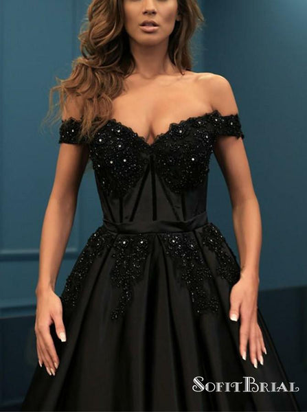 Decent Off Shoulder Black A-line Long Prom Dresses with Appliques Beading, TYP0063