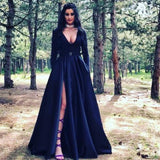 A-Line V-Neck Long Sleeves Long Black Prom Dresses with Pockets Split, TYP0087
