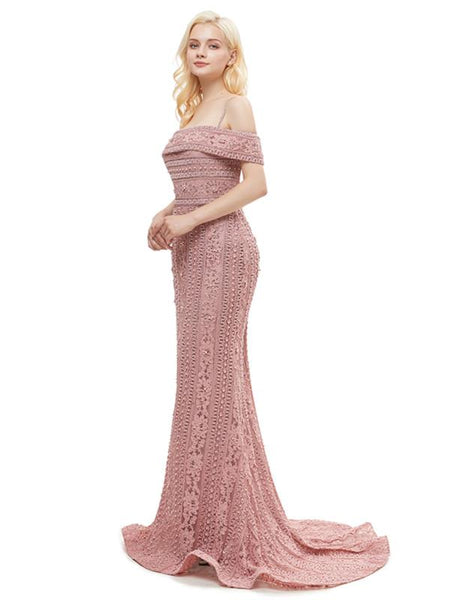 Off-Shoulder Spaghetti Straps Applique Mermaid Hem With Trailing Gown, Prom Dress, EME039