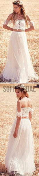Two Pieces Off Shoulder Lace Top White Tulle Wedding Dresses, WD0001 - SofitBridal