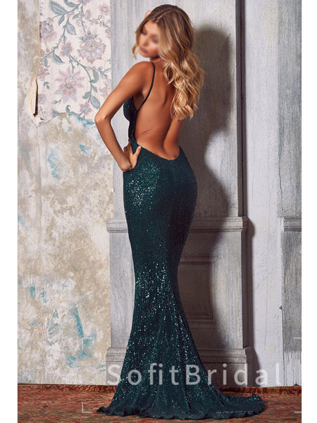 Sparkly Mermaid Deep V-Neck Spaghetti Straps Backless Cheap Long Prom Dresses,STPD0001