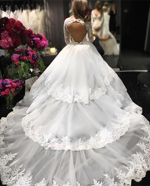 Long Sleeve Lace Wedding Dresses Ball Gown Backless: Gorgeous Long Sleeve V-neck Open Back Lace Ball Gown