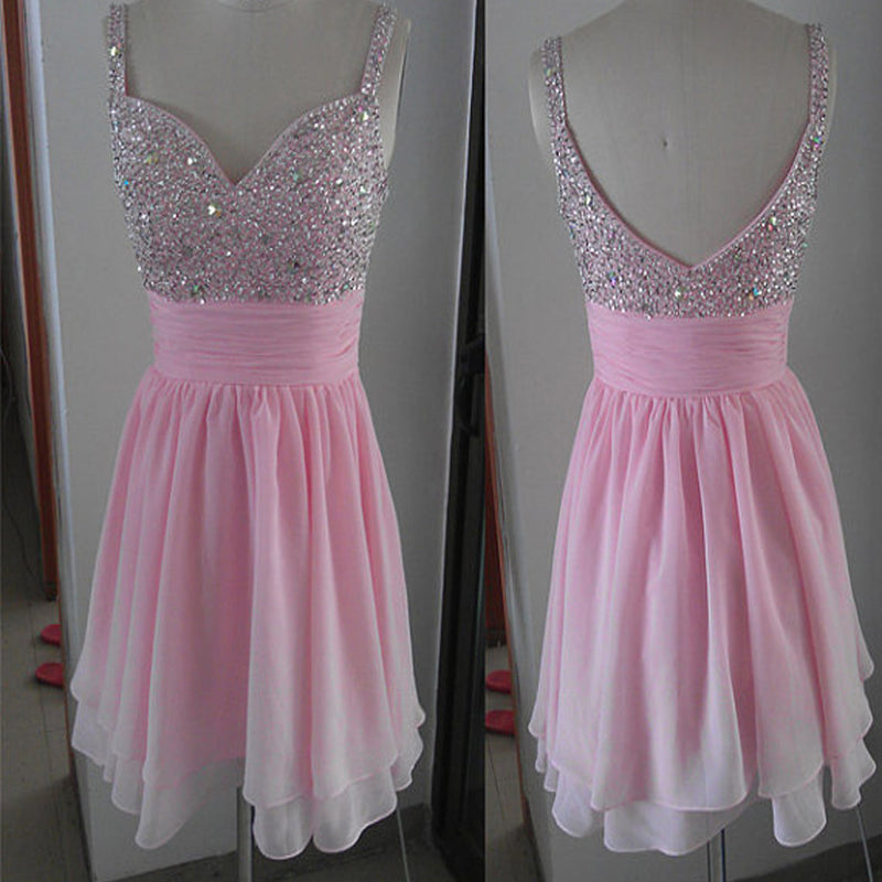 New Arrival peach pink sparkly simple cute Bohemian freshman homecoming prom dress,BD00107 - SofitBridal