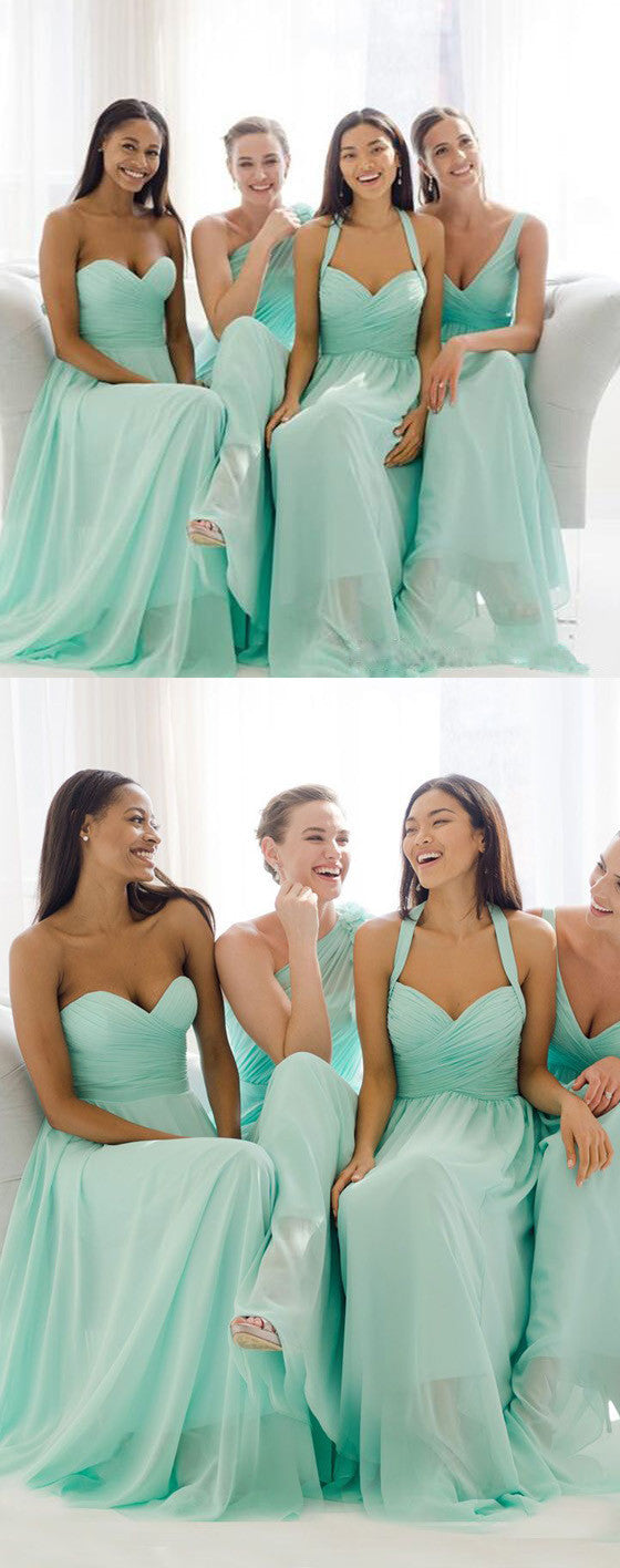 Mismatched mint chiffon different styles junior simple a line mismatched mint chiffon different styles junior simple a line formal floor length bridesmaid dresses ombrellifo Choice Image