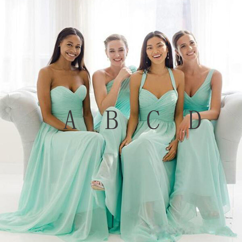 Mismatched Mint Chiffon Different Styles Junior Simple A Line Formal Floor-length Bridesmaid Dresses, WG109 - SofitBridal