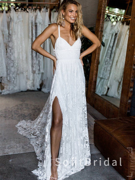 Newest A-Line V-Neck Spaghetti Straps Lace Split Side Cheap Long Beach Wedding Dresses,STWD0010