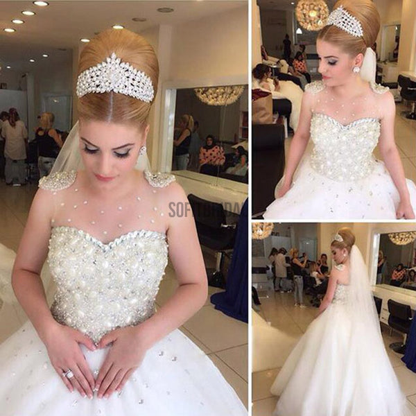 Popular Cheap Luxury Rhinestone Illusion Beaded Tulle Wedding Party Dresses, WD0010 - SofitBridal