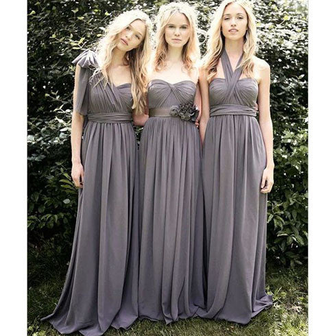 Junior Popular Convertible Chiffon Gray A Line Cheap Long Bridesmaid Dresses for Wedding Party, WG111 - SofitBridal