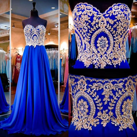 Sweetheart Rhinestone Long A-line Royal Blue Chiffon Long A-line Prom Dresses, PD0282