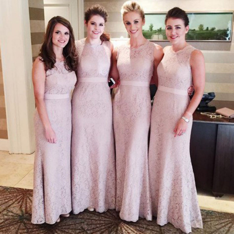 Women Modest Flesh Pink Small Round Neck Lace Mermaid Sexy Long Bridesmaid Dresses, WG112 - SofitBridal