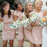 Fashion Cap Sleeve Open Back Small Round Neck Short Lace Blush Pink Mini Cheap Bridesmaid Dresses, WG116 - SofitBridal