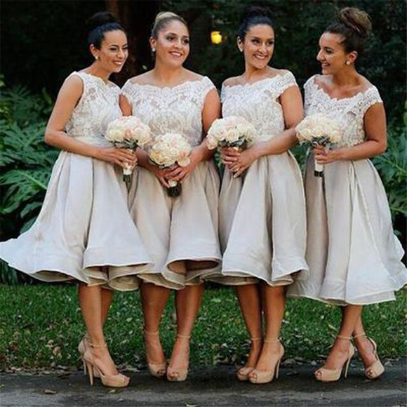 Morden Cap Sleeve Lace Organza Knee-Length On Sale Short Affordable Bridesmaid Dresses Ball Gown, WG117 - SofitBridal