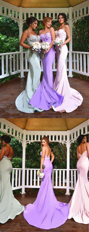 New Arrival Online Sexy Mermaid Backless Spaghetti Strap Sweet Heart Lace Long Bridesmaid Dresses, WG119 - SofitBridal