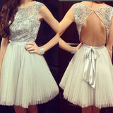 Grey cap sleeve gorgeous open back casual charming homecoming prom dress,BD0011 - SofitBridal