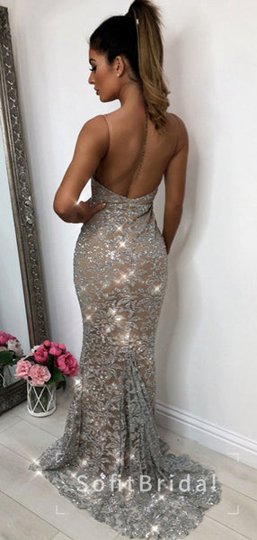Sparkly Mermaid V-Neck Spaghetti Straps Open Back Cheap Long Prom Dresses For Teens,STPD0012