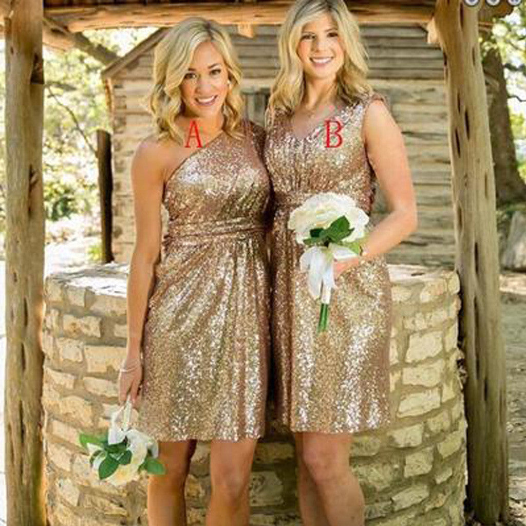 Mismatched Gold Sequin One Shoulder Shinning V-Neck Knee-Length Cheap Bridesmaid Dresses, WG122 - SofitBridal