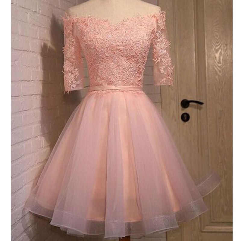 2016 pink lace off shoulder with half sleeve cute freshman graduation homecoming prom dress,BD00125 - SofitBridal