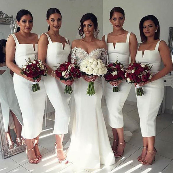 Simple Cheap Unique White Off Shoulder Straight V Neck Sexy Tea Length Bridesmaid Dresses, WG126 - SofitBridal