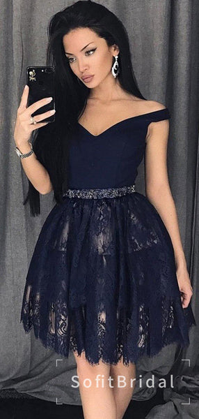 A-Line Off The Shoulder Navy Blue Lace Homecoming Dresses With Beading,STBD0013