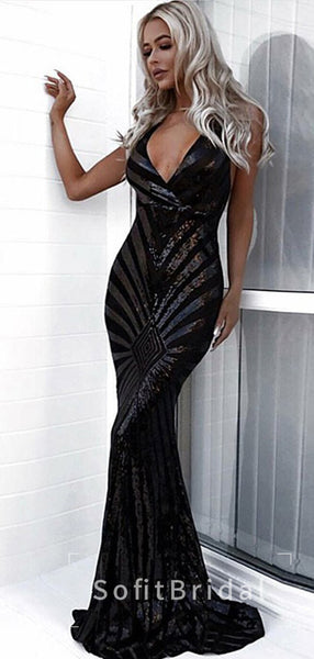 Sexy Mermaid Deep V-Neck Spaghetti Straps Black Long Prom Dresses,STPD0013