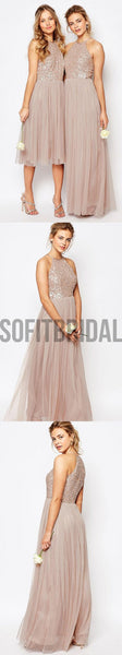 Charming Inexpensive Sequin Top Tulle Halter Sparkly Gorgeous Short Long Romantic Wedding Party Bridesmaid Dresses, WG130 - SofitBridal