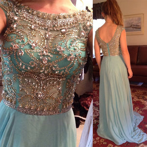 Scoop Neckline Rhinestone Beaded V-back Long A-line Blue Chiffon Prom Dresses, PD0266