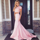 Two Pieces Short Sleeve Pink Beaded Satin Long Mermaid Prom Dresses, PD0273 - SofitBridal
