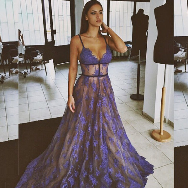Spaghetti Long A-line Purple Lace Sexy 2017 Newest Prom Dresses, PD0270 - SofitBridal
