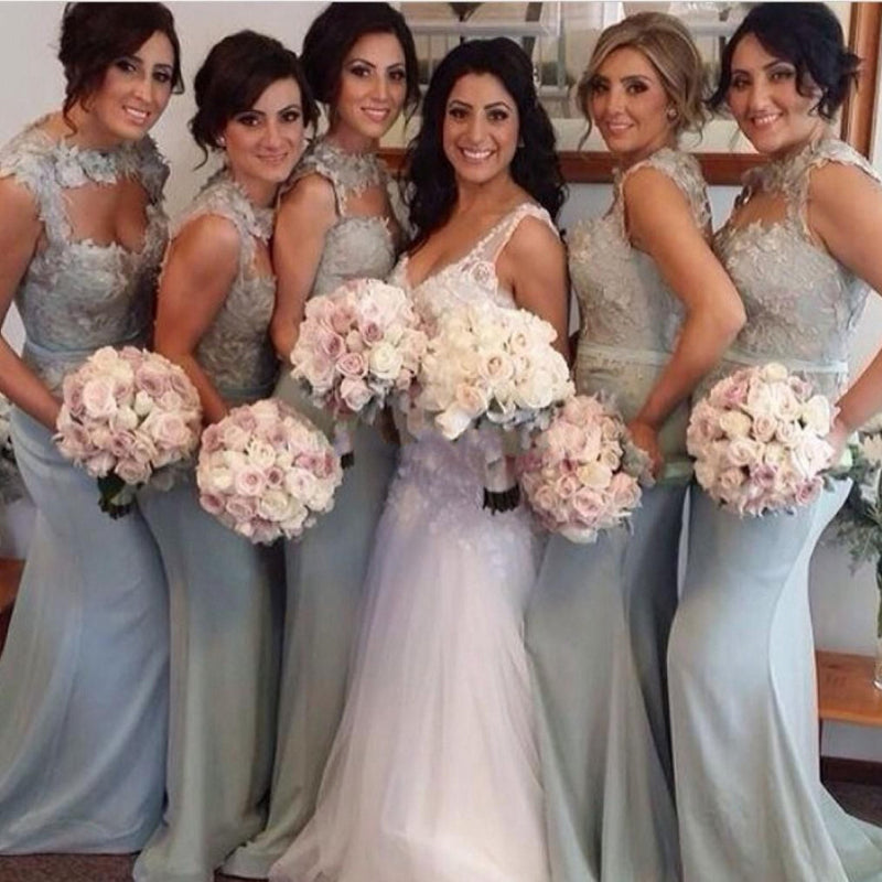 Unique Open Chest Sexy Mermaid Sweet Heart Lace Long Cheap Wedding Bridesmaid Dresses, WG135 - SofitBridal